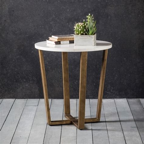 Eliana Round Marble Side Table In White With Gold Metal