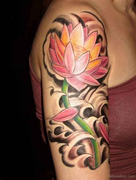 lotus tattoo half sleeve fantastic lotus flower tattoo on half sleeve tattoo
