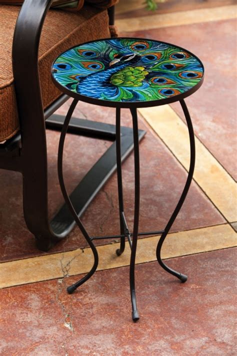 glass top accent table peacock glass top accent table unique humming bird