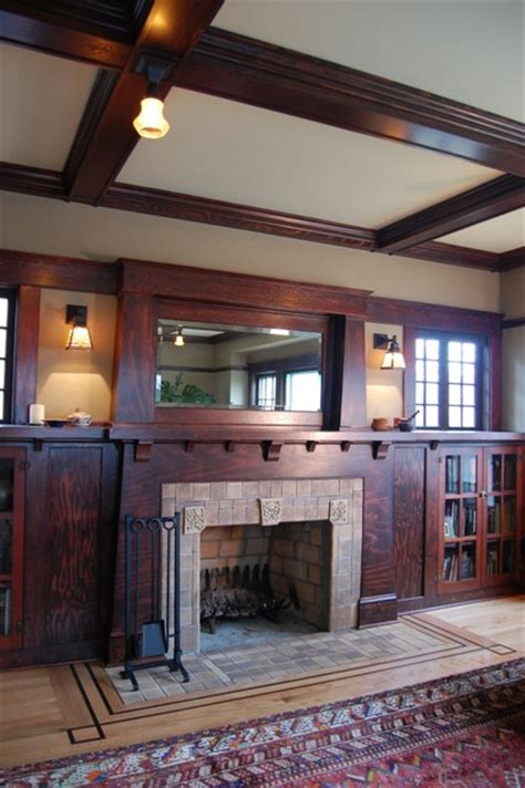 craftsman design craftsman fireplace craftsman living room portland