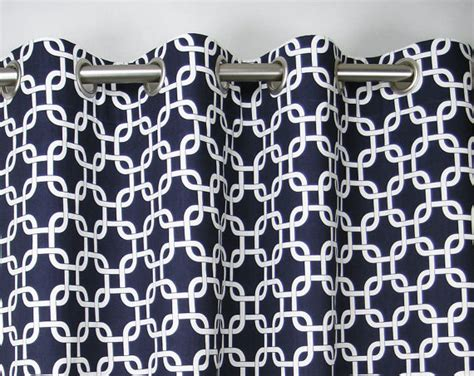 navy blue print curtains pair of grommet top curtains in navy blue and white by