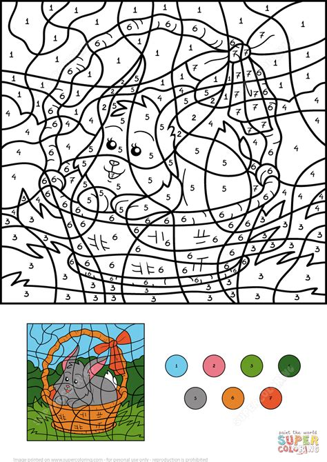 easter coloring pages by numbers easter rabbit in the basket color by number free
