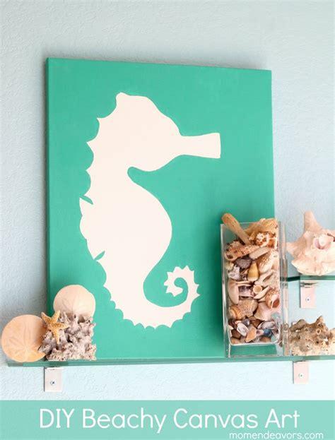 canvas crafts diy diy beachy seahorse canvas