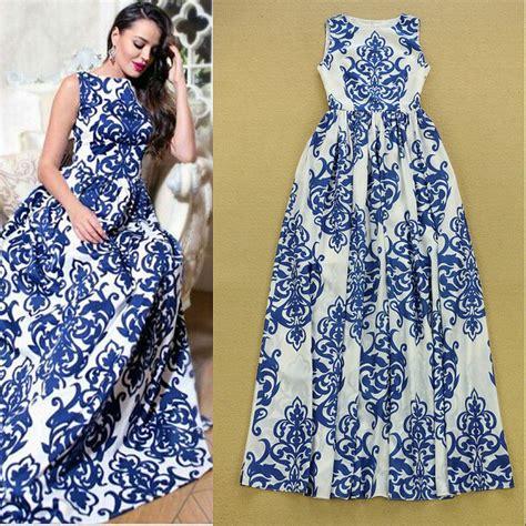 Blue Army Maxi Dress high quality new 2015 summer maxi dress designer s