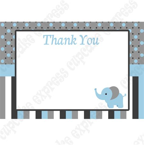 printable thank you cards baby shower baby boy elephant printable thank you card