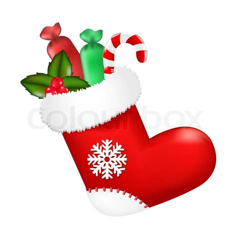 christmas sock red christmas sock with presents stock photo colourbox