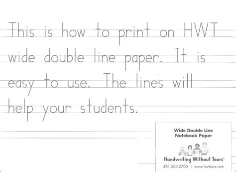 printable handwriting without tears lined paper wide double line notebook paper ream 007659 details