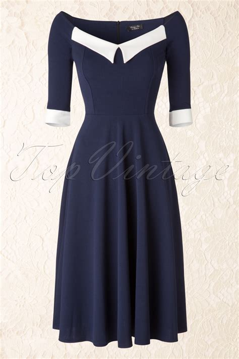 navy swing dress 50s noreen swing dress in navy and ivory cr 234 pe