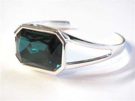 One Size Fits Most Bracelet emerald swarovski silver plated cuff bracelet one size