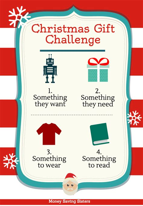 4 gift christmas challenge want need wear read
