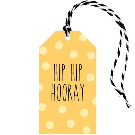 swing tag maker swing tag quot hip hip hooray yellow quot 50mm x 90mm blank