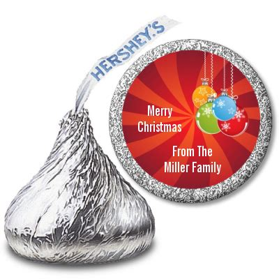 christmas ornaments hershey kiss stickers candles favors