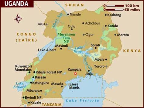 africa map uganda uganda touristische karte