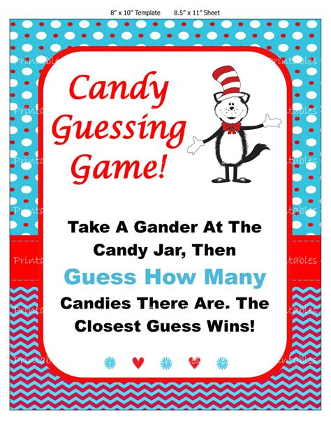 Seuss Candy Guessing Game Seuss Baby Candy Game Printable Guessing Template