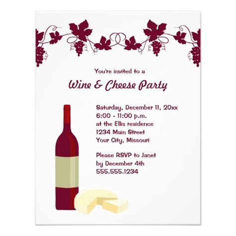 Wine And Cheese Party Invitations 4 25 Quot X 5 5 Quot Invitation Card Zazzle Wine Bottle Invitation Template Free