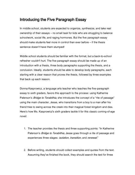 Middle School Essay Sles middle school sle essay