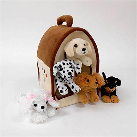 Plush Dog House Five 5 Stuffed Animal Dogs Dalmation Yellow Lab Rottweiler