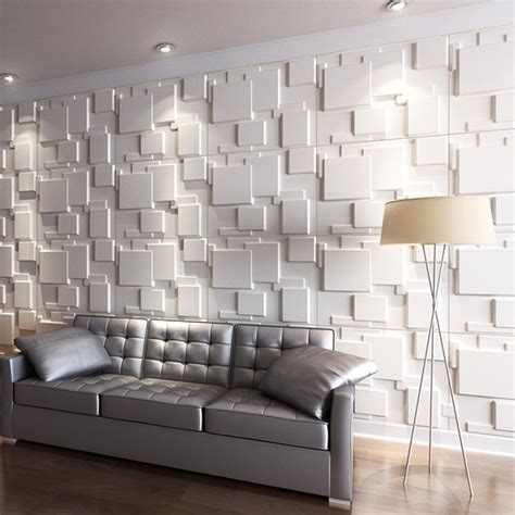 3d wall panel natural plant fiber 3d panel paintable off white set of 6