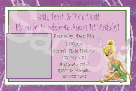 tinkerbell invitation card template printable tinkerbell invitations birthday