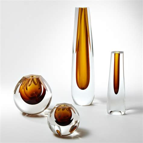 contemporary glass vases global views shaped glass vase modern vases by