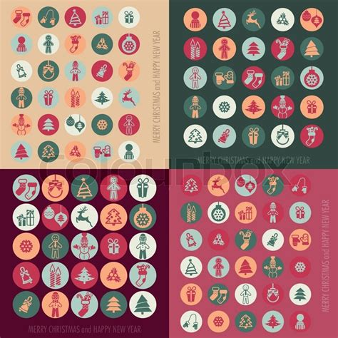 Supplier Merry Set By Dtya merry and happy new year icons set vector