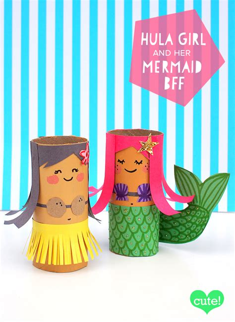 mollymoocrafts toilet roll crafts hula and mermaid