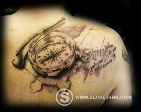 compass and map tattoo secret ink piercing and laser removal