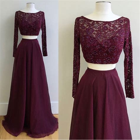 Longdress Busui Grape lace top two pieces prom dresses sleeves grape prom dresses two pieces formal gowns pd2287