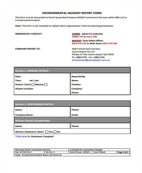 Environmental Incident Report Form Template Incident Report Form Exle