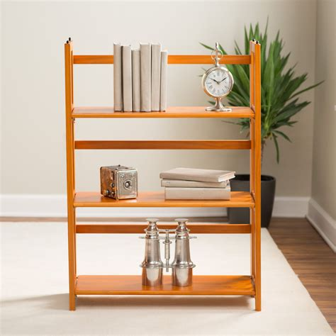 3 tier stackable folding bookcase ebay