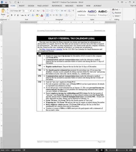 Tax Calendar Federal Tax Calendar Template