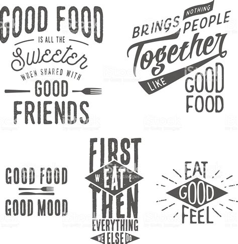 vintage food related typographic quotes stock vector art