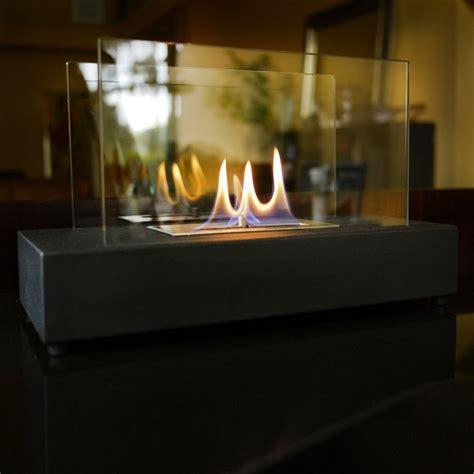 nu modern glass tabletop fireplace