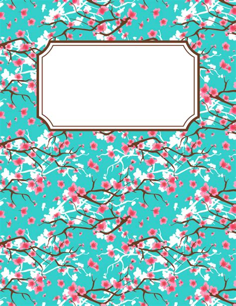 printable planner cover free printable cherry blossom binder cover template