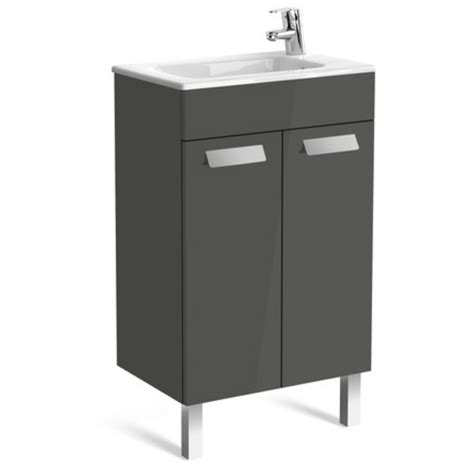 Grey Vanity Unit by Roca Debba Compact 2 Drawer Wall Hung Vanity Unit 600mm In
