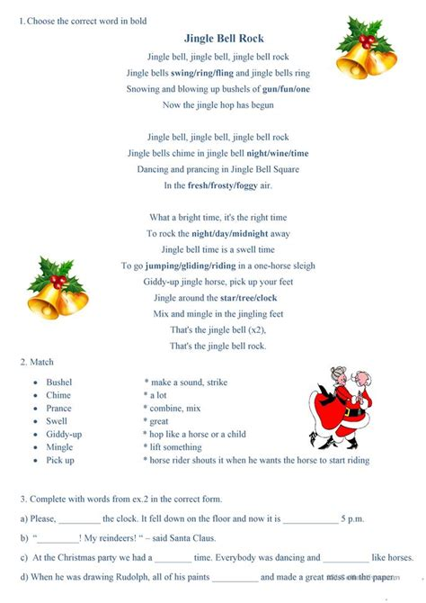testo canzone jingle bell rock 10 free esl jingle worksheets