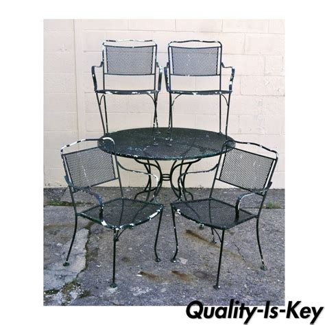 vintage wrought iron outdoor patio dining set table