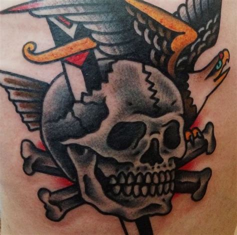 skull and cross bones tattoo school skull and cross bones dagger bald eagle