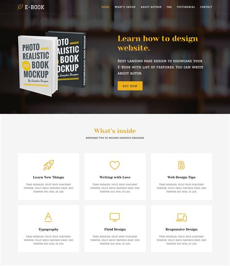 ebook landing page template w3c html template images themes ideas