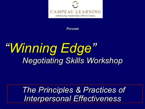 the winning edge 8 principles that will bring out the winner in you books winning edge negotiation skills presentation slides