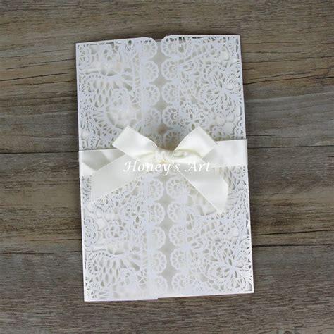 50pcs lot laser cut wedding invitations with envelope white peony wedding invitation diy