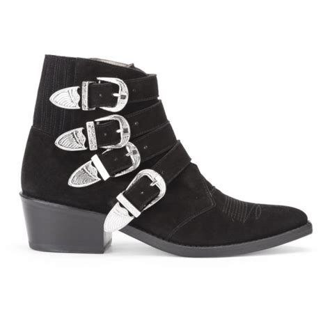 toga pulla s buckle side suede heeled ankle boots