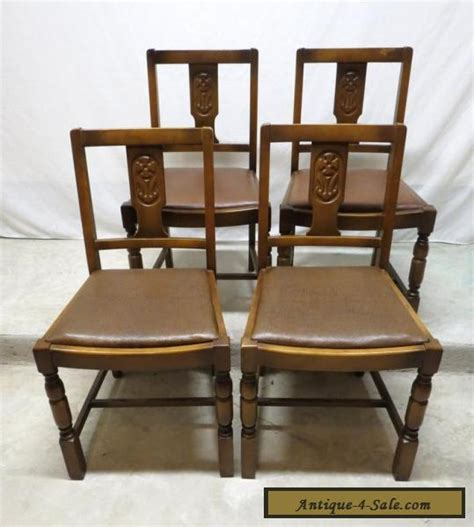 4 Dining Room Chairs For Sale by Antique Set 4 Deco Carved Golden Oak Dining Room
