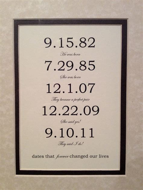 Wedding Anniversary Date Ideas by Framed Matted Custom Date Print Personalized