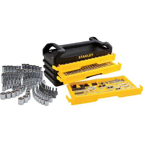 stanley 3 drawer tool chest stanley full polish 235pc mechanics tool set with 3 drawer
