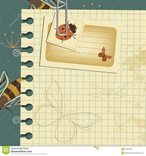 paper cards cut notebook template wasps vintage template stock vector image of paper