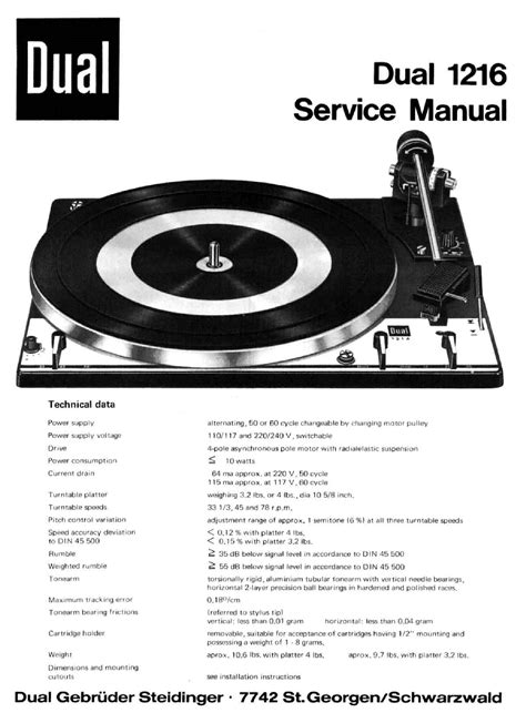 Dual 1216 Turntable Service Manual Download Schematics