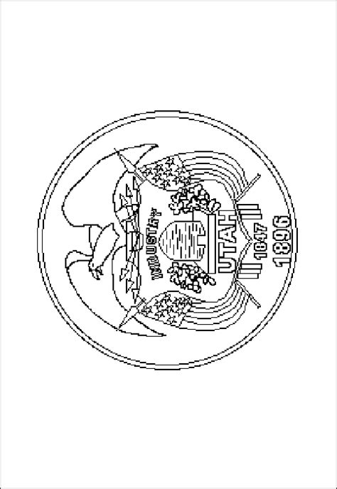 utah state flag coloring pages usa for kids