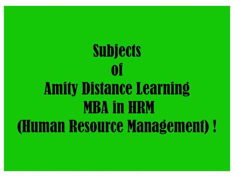 Mba In Hm In India by Ppt Amity Distance Learning Mba In Hrm Human Resource