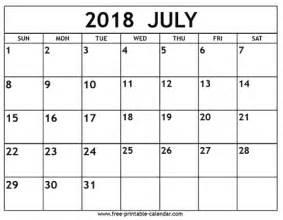 July 2018 Calendar Printable July 2018 Calendar Free Printable Calendar